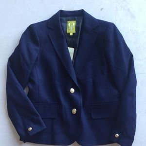 NWT SIZE 2 Q Mack Navy Blazer with Gold Buttons